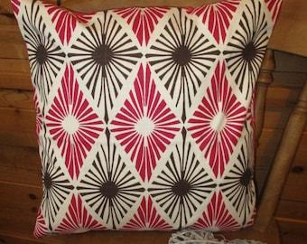18 x 18 pillow cover, cushion cover, gemetric, pink, cream, contemporary, modern, decorative cushion, pillowcase