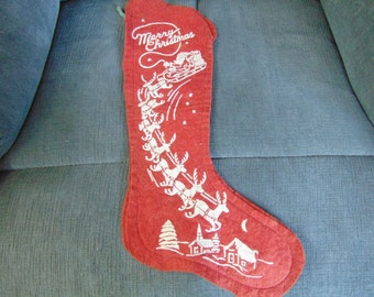 1940s christmas stocking vintage stencil in white great santa sled raindeers - Vintage Christmas Stockings