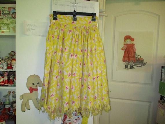 "Vintage Flour Sack Skirt, Novelty Fabric, "" Circle"