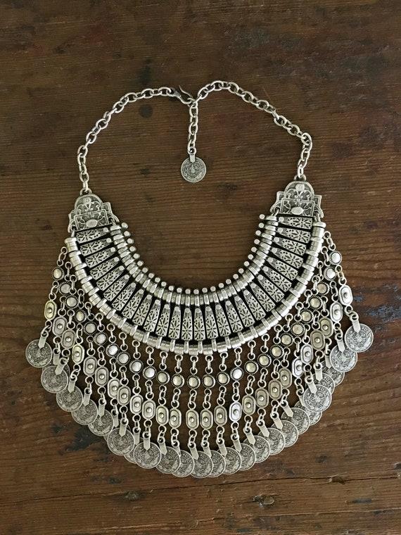 Semi precious stone necklace Bohemian necklace Blue turquoise Tribal necklace Gypsy necklace Statement necklace Bib necklace jewelry