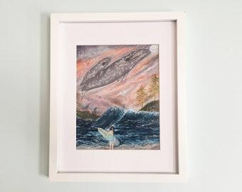 Grey Whale Art Print, Whale Cetus Constellation Art, Beach Art, Ocean Surf Art, Galaxy Stars Whale Art, Sea Surf Sand Forest Pop Surreal Art