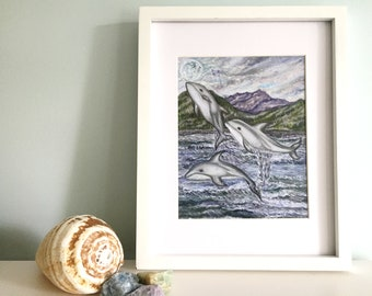 Dolphin & Ocean Art Print, Dolphins in Nature Art, Dolphin and Mountain Print, Dolphin Constellation Art, Delphinus Constellation