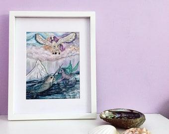 Ethereal Unicorn Art Print, Narwhal Print, Unicorn Mermaid Print, Mermaid Unicorn Nursery Wall Art, Pegasus Kids Art, Pegasus Constellation