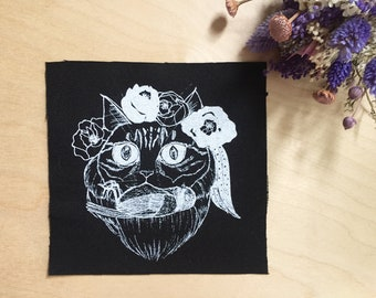 Cat & Bird Patch, Longhair Cat Sew on Patch, Cat Hunter Jacket Appliqué, Cat and Flower Canvas Badge, Cat Illustration Screen Printed Patch