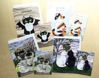 Mix Match 1 Magnet and 1 Greeting Card, Cat Birthday Card, Cat Art for Guys, Cat Decor for Cat Ladies, Cat Gifts, Cat Magnets Kitchen Decor