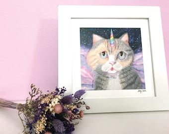 Unicorn Cat Art Print, Galaxy Cat Square Print Wall Art, Cute Cat Unicorn Art, Adorable Unicorn Art for Kid's & Babies' Room Decor, Cat Art