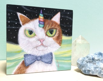 Orange & White Tabby Cat Wood Block Art, Self Mounted Cat Art Print, Orange and White Galaxy Cat Art, Art for Orange Tabby Cat Fans