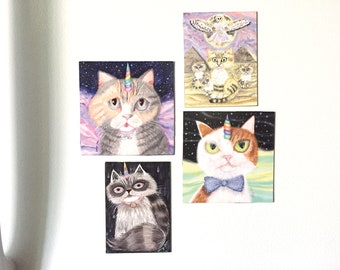 Mix & Match 4 Cat Magnets, Calico Cat Kitchen Decor, Tuxedo Cat Gifts for Guys, Siamese Cat Gift for Cat Lady, Decor for Orange Cat Lovers