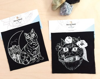 Mix Match 2 Canvas Patches, Cat Patches for Jackets, Sew on Patches for Cat Lovers, Screen Printed Cat Appliqués, Cat Fashion Accessories