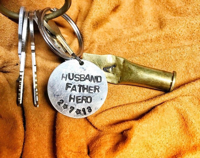Tribute father husband dad hero fathers dads keychain gun hunting casing ammo shell date memorial remember