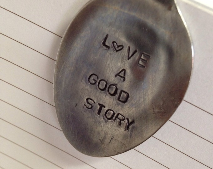 LOVE a GOOD STORY bookmark flattened spoon hand stamped page marker book lover bookworm reading is fun chapters read love page bookworm nerd