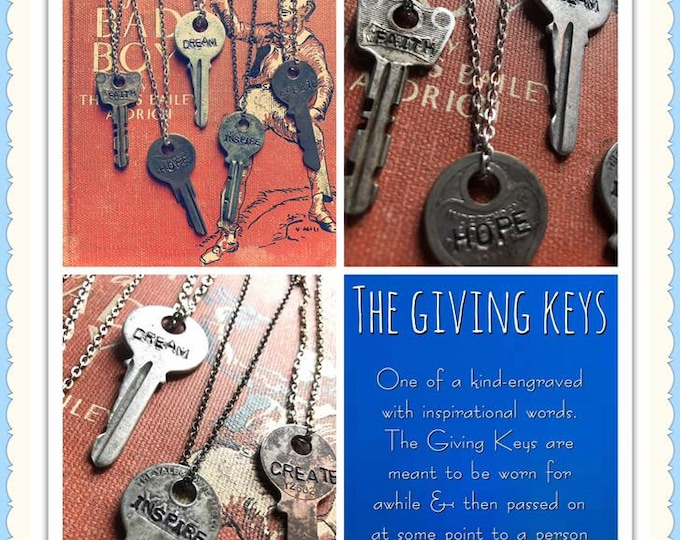 Giving Key custom unique pay it forward keys my inspirational words to pay 4ward motivational keys necklace whats your word intent gift love