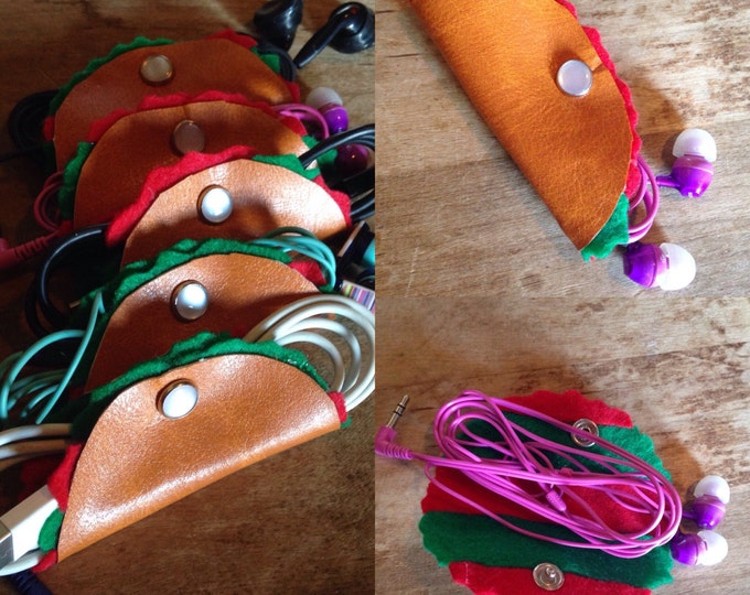 Taco cord keeper organizer for ear buds or charging cords, keep it clean, organize, and neat! Teens love tacos