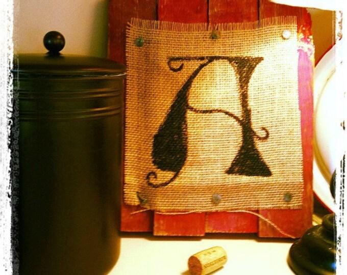 Monogram barn wood art Rustic initial home decor gift Font color burlap gift a b c d e f g h i j k l m n o p q r s t u v w x y z