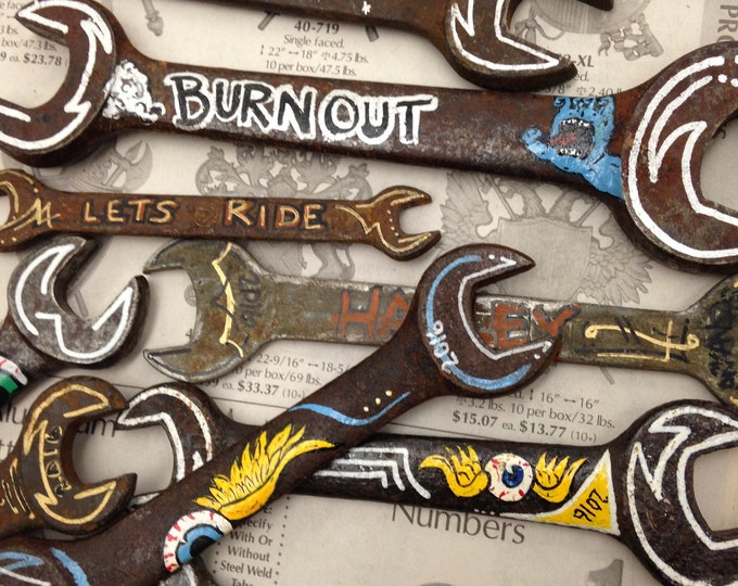 Custom hand painted old wrenches personalized man cave tool garage shop customized