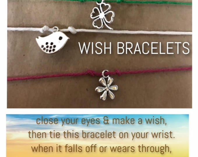 WISH wishing bracelet dream believe wonder faith tie on string cord charm heart's desire elegant make a wish come true