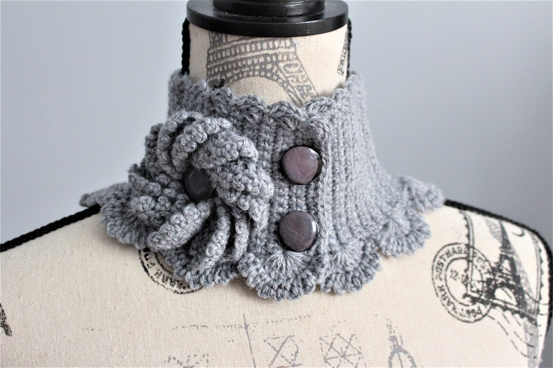 collar embellishment Grey hand knitted neck warmer unique handmade gift for women winter accessory autumn fashion mini scarf for women