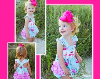 a2a1971ba1 Flamingo Smocked Ruffle Bubble Baby Girls Ruffle Outfit Girls Ruffle Romper  Girls Ruffle Bubble Baby Girl Summer Outfit Flamingo Outfit