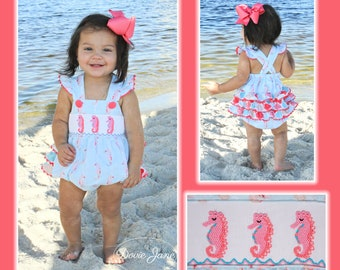 928ad623040 Seahorse Smocked Ruffle Bubble Smocked Summer Romper Bubble Smocked Summer  Outfit Baby Girl Summer Outfit Smocked Baby Girl Seahorse Smocked