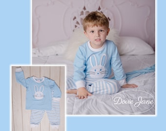 205297ca3d Bunny Loungewear Boy Personalized Pajamas Monogram Pajamas Easter Pajamas  Easter Monogram PJs Bunny Pajamas Bunny Applique Bunny Monogram