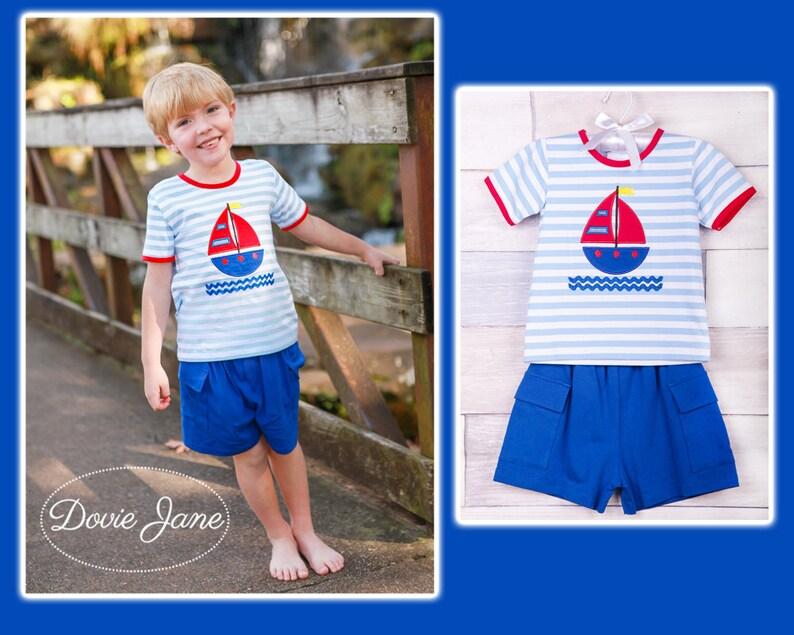7c1de56dfabb9 Boys Shorts Outfits Summer Boys Clothes Sailboat Boys | Etsy