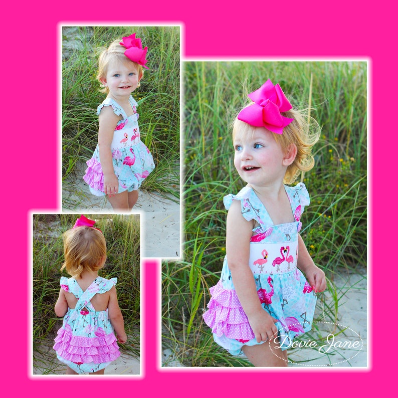 aa99a1a5e86db Flamingo Smocked Ruffle Bubble Baby Girls Ruffle Outfit Girls Ruffle Romper  Girls Ruffle Bubble Baby Girl Summer Outfit Flamingo Outfit