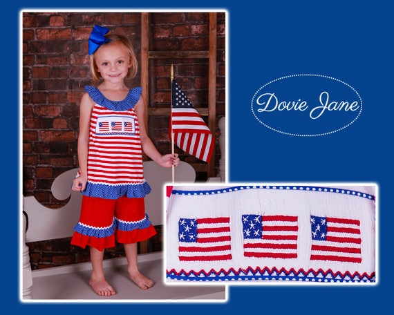 Smocked A Lot Shorts Set American Flag July 4 Independence Day Dress Deployment