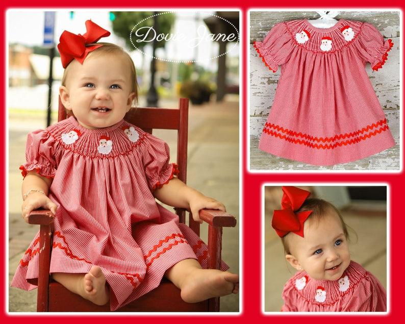 Smocked Santa Dress Smocked Christmas Dress Baby Girl image 1