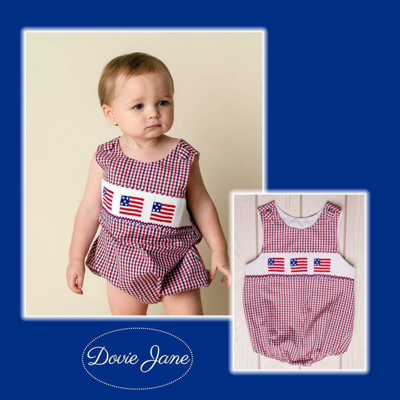 ad89783bbcb Flag Smocked Boy Bubble Flag Bubble Flag Overalls Flag Outfit