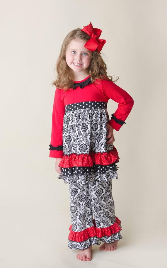 Holiday Ruffle Outfit Ruffle Pants Set Girls Ruffle Outfit  1c885d88fbff