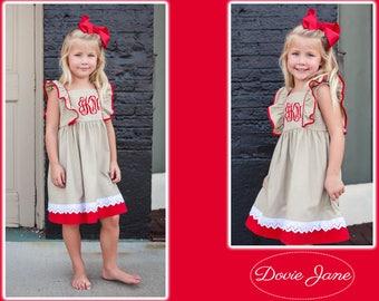 Girl Christmas Dress, Lace Christmas Dress, Toddler Monogrammed Christmas Dress, Monogram Christmas Dress, Linen Christmas Dress, Holiday