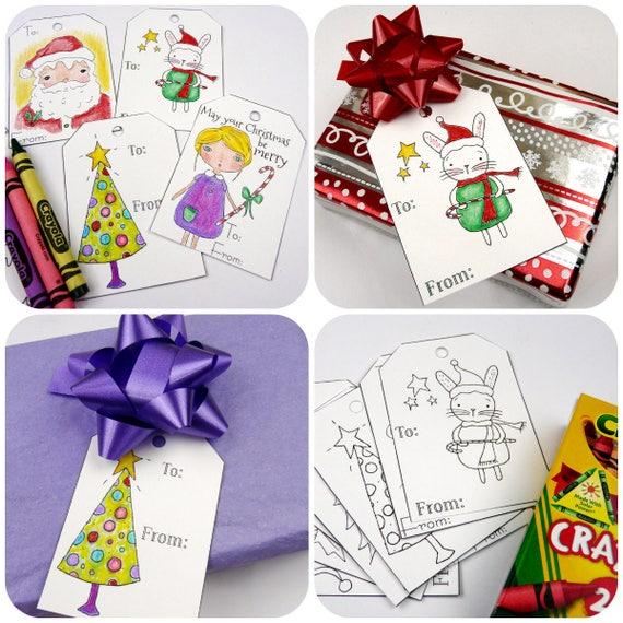 Coloring Christmas Gift Tags Digital Pdf Art Sheet Easy Etsy