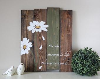 Reclaimed wood wall art - Pallet wall art - Daisy wall art - Pallet sign - Reclaimed wood sign - Gifts for her - Inspirational Wood Sign & Wood wall art   Etsy