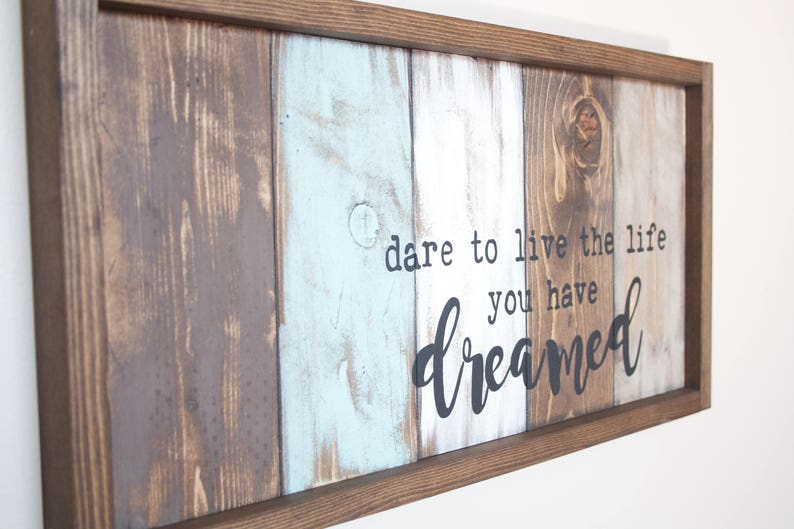Motivational Wall Decor - Live The Life You Love - Pallet Wall Art -  Inspirational Wood Signs - Reclaimed Wood Wall Art - Graduation Gift