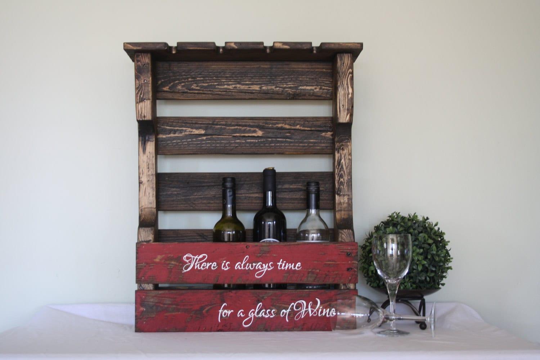 pallet wine rack wood wine rack pallet wine holder wine etsy. Black Bedroom Furniture Sets. Home Design Ideas