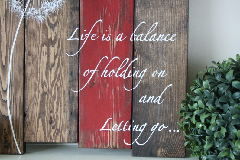 Wood Plank Art - Life is a balance - Pallet Wall Art - Inspirational wood  sign - Dandelion wood sign - Dandelion wall art - Rustic Decor