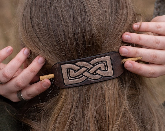 knotwork Leather Hair barrette