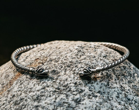 Viking Sterling Silver Neck Torc Icelandic Wolfs
