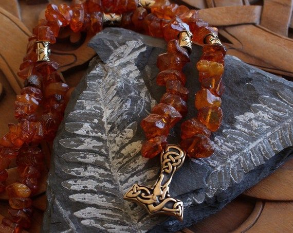 Baltic Amber Necklace with Bronze Beads and Urnes Mjolnir