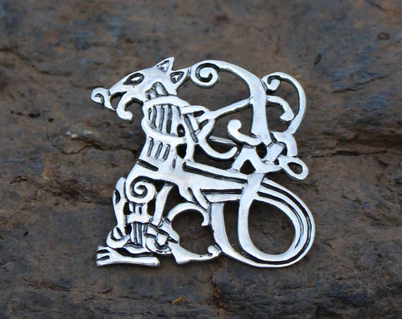 READY TO SHIP Jellinge Dragon Brooch In Sterling Silver or Brass