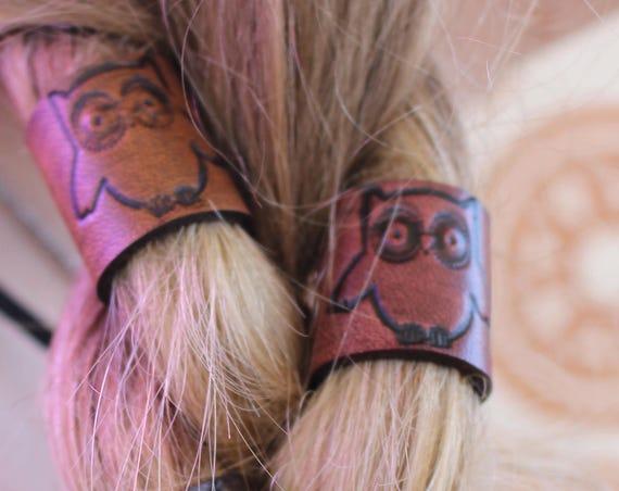 Leather owl Hair/Beard Bead