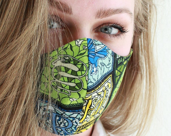 Face Mask Cotton Reusable Washable Unisex Adult and Children's Mask Hogwarts Houses.