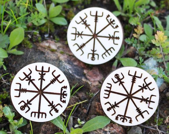 Vegvisir Icelandic Compass Wood Pin