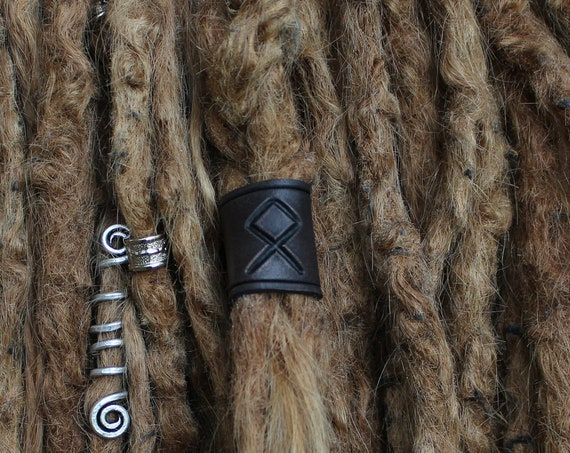 Large Runic Leather Viking Hair/Beard Bead