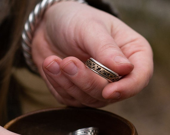 Silver and Bronze Spinning  Ring with oseberg style dragon