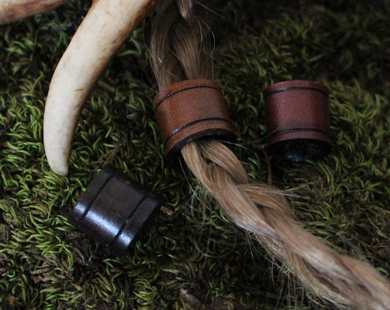 Viking Hair/Beard Beads Made From Leather