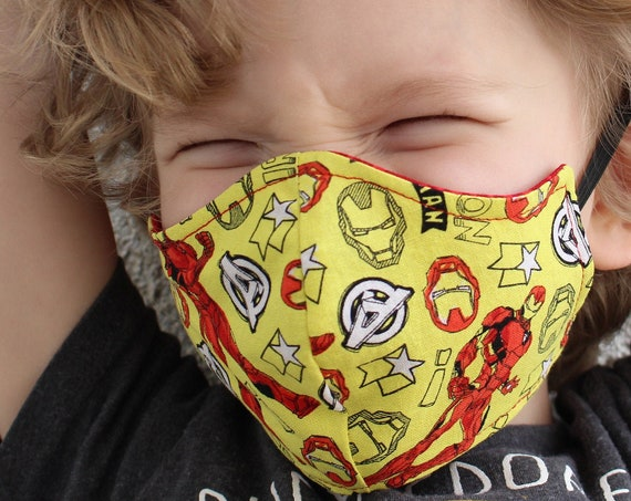 Face Mask Cotton Reusable Washable Unisex Adult and Children's Mask Super Hero