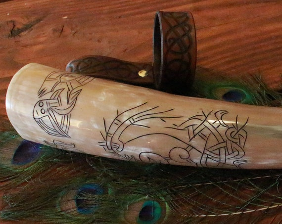 Ready To Ship Carved Drinking Horn