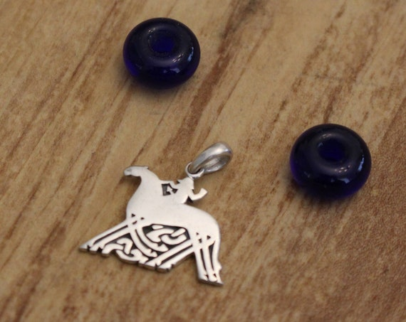 Sterling Silver  or Bronze Odin  and Slepnir Pendant