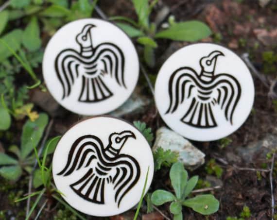 Viking Raven Banner Wood Pin
